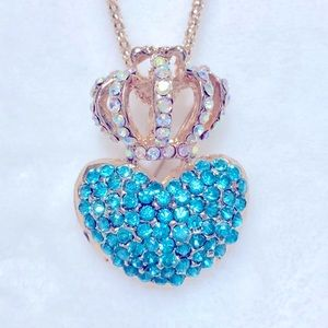 Aqua Crown and Heart Brooch Necklace NWT